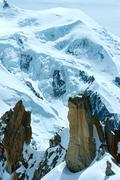 mont blanc mountain massif (view from aiguille du midi mount,  french ) - stock photo