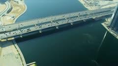 Aerial view Business Bay Bridge, Dubai Stock Footage