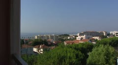 Cote d Azur, pan Mediterranean Sea, Riviera coast Stock Footage