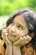 Beautiful girl thinking Stock Photos