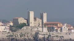 ANTIBES Chateau Grimaldi zoom out Mediterranean coast - stock footage