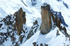 Mont blanc mountain massif (view from aiguille du midi mount,  france ) Stock Photos