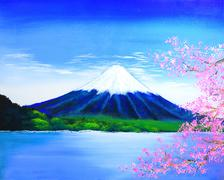 Fuji mountain painting Stock Illustration