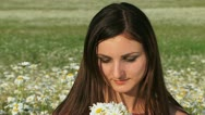 Smelling daisies Stock Footage
