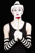 mime in white hat - stock photo