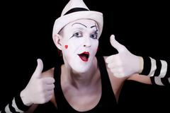 funny screaming mime in white hat - stock photo