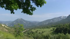 Panoramic view of mountainous area at col de leques Stock Footage