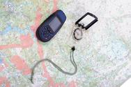 Stock Photo of map, gps and compass