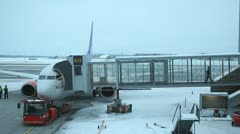 Boarding Airport Winter Stock Footage