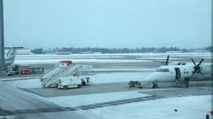 Airport covered in snow - Gardemoen Oslo Norway Stock Footage