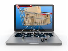 Stock Illustration of e-commerce. shopping cart with cardboard boxes on laptop.
