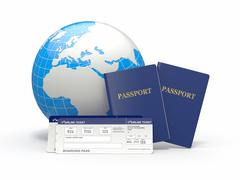 world travel. earth, airline tickets and passport on white background. - stock illustration