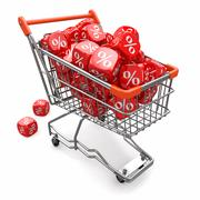discounts. shopping cart and cubes with percent. - stock illustration