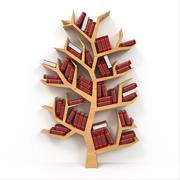 tree of knowledge. bookshelf on white background. - stock illustration