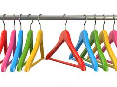 clothes hangers on white isolated  background - stock illustration