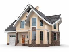 house on white background. three-dimensional image. - stock illustration
