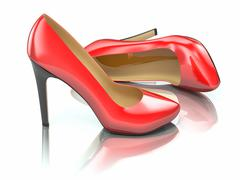 Stock Illustration of red high heels shoe on white background.