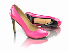 pink high heels shoe on white background. - stock illustration