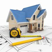 residential house with tools on architect blueprints. housing project. - stock illustration