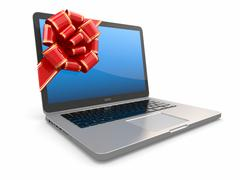 Laptop gift. bow and ribbon on screen. 3d Stock Illustration