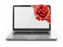 Stock Illustration of laptop gift. bow and ribbon on screen. 3d