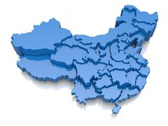 three-dimensional map of china on white background. 3d - stock illustration
