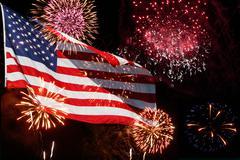 Fireworks - american flag Stock Photos