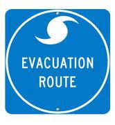 Hurrikaani evakuointi reitti merkki Kuvituskuvat