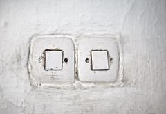 old eletricity switch - stock photo