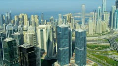 Aerial view of Jumeirah Lake Towers, Dubai Stock Footage