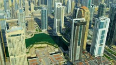 Aerial view of Dubai city skyscrapers  - stock footage