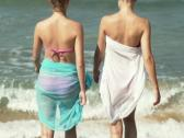 Two girlfriends walking into the sea NTSC Stock Footage