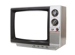Worn old grungy portable television Stock Photos