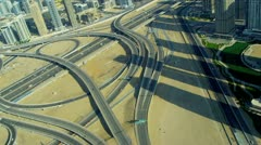 Aerial view Sheikh Zayed expressway, Dubai Stock Footage