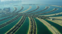 Aerial view of Palm Jumeirah, Dubai - stock footage