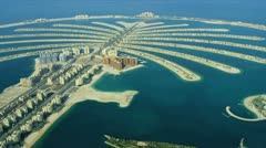 Aerial Golden Mile, Palm Jumeirah, Dubai Stock Footage