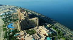 Aerial view Palm Atlantis, Dubai - stock footage