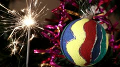 Sparkler on Christmas ball Stock Footage