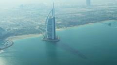 Aerial view Burj Al Arab Hotel Dubai Stock Footage