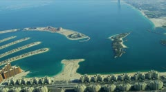 Aerial view of Palm Jumeirah, Dubai Stock Footage
