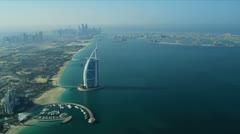 Aerial view Burj Al Arab, Jumeirah Beach Hotel Dubai Stock Footage