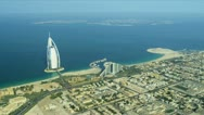 Stock Video Footage of Aerial view Burj Al Arab, Jumeirah Beach Hotel Dubai