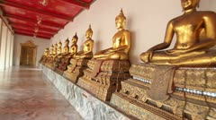 Golden Buddha Statues Stock Footage