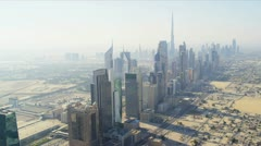Aerial view city skyscrapers  downtown Dubai Stock Footage