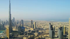 Aerial view Burj Khalifa  downtown Dubai Stock Footage