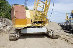 powerful diesel crane - stock photo