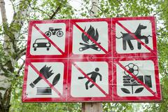Prohibiting signs in the park Stock Photos