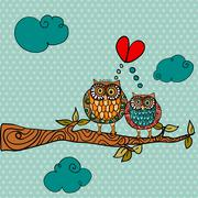 wedding card lovely owls background - stock illustration