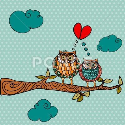 Stock Illustration of wedding card lovely owls background