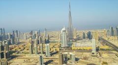 Aerial view Burj Khalifa  downtown Dubai Stock Footage
